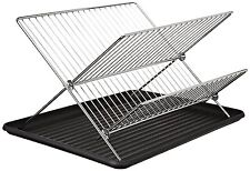 Home Kitchen RV Chrome 2 Tier Folding Dish Drying Rack Storage Organizer Drainer