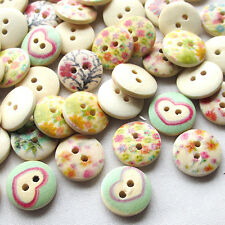 100pcs Mix Lots Wood Buttons 15mm Sewing Craft 2 Holes Wholesales