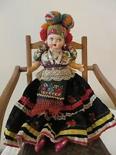 "VINTAGE HUNGARIAN ROMANIAN LARGE DOLL 19"" FOLK COSTUMES CIRCA 1940'S? RARE FIND"