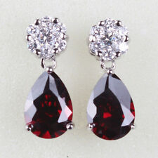 Vintage Garnet Red & Clear Sapphire Silver Tone Drop Women Dangle Earrings Studs