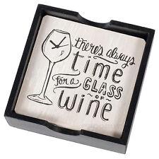 Lot de 4 fantaisie en bois verre vin sous-verres avec support de boissons de fête blague cadeau