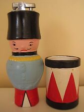 RARE? Vintage Soldier Table Lighter & Drum Cigarette Holder Set Plaster JAPAN