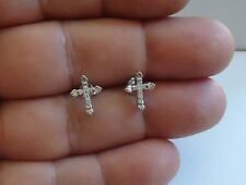 925 STERLING SILVER CROSS STUD EARRINGS W/ .25 CT ACCENTS/11MM BY 9MM/STUNNING!!
