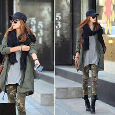 Women Trendy Polyester Camo Camouflage Stretch Trousers Army Green Tights Pants