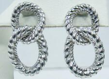"925 STERLING SILVER JUDITH RIPKA 1"" X .50"" CLIP ON EARRINGS DOUBLE ROPE KNOT"