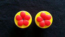 2-each Yellow with Red Flower Nectar DOTS Hand Held Hummingbird Feeders