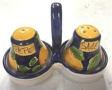 Vietri Pottery,Salt and Pepper Lemon Pattern .Made/painted in Italy