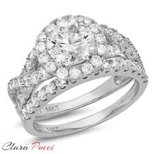 2.40 CT Simulated Round Cut Halo Bridal Engagement Ring band set 14k White Gold