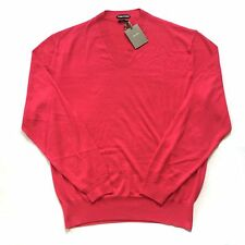 NWT $1.4k TOM FORD Men's Pink Cashmere & Silk Knit V-Neck Sweater XXL AUTHENTIC