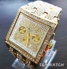 Mens Luxury Hip Hop Gold Plated Cubic Zirconia Geneva Bling Iced Out Wrist Watch