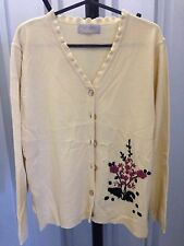 Daxon Women Cardigan Cream Embroidered Knitted Cream Size 10-12 (3)