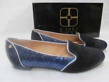 IMAN MIDNIGHT BLUE LEATHER HAIRCALF & GLITTER SHOES SIZE 9 W - NEW W BOX