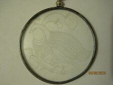 """Marshall Field's Partridge in a Pear Tree Etched Glass Christmas Ornament 2.25"""""""