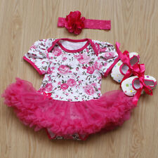 3PCS Newborn Baby Girl Tutu Dress Jumpsuit Headband Crib Shoes Outfits Clothes