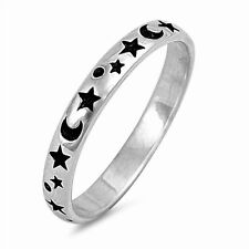 USA Seller Moon & Star Band Ring Sterling Silver 925 Best Deal Jewelry Size 9