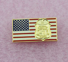 US FLAG PIN - FBI BADGE LOGO - POLICE - LAW ENFORCEMENT - LEO