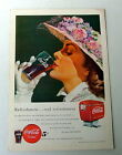 1949 COCA COLA AD LADY WEARING VERY FANCY FLOWER HAT DRINKING COKE WITH GLOVES