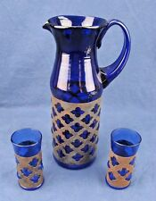 Vintage Hand Blown Cobalt Blue Pitcher w/ Metal Overlay and 2 Matching Glasses
