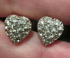 #Vintage Swarovski #Heart Earrings Stud GoldTone Pave Crystal signed cz Pierced