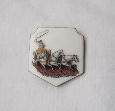 Unusual Vintage Silver Chariot Badge / Ornament with Enamel
