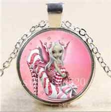 Pink High Heels Fairy Cabochon Glass Tibet Silver Chain Pendant Necklace