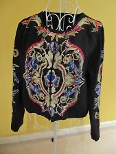 NEW ASOS Women Tapestry Jacket Coat Top Outerwear Black Long Sleeve Size 14 / 42