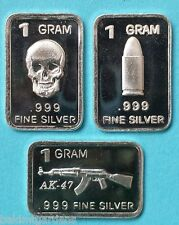 3 Gram Pure .999 Fine Silver Bar  SKULL AK-47 Bullet Collection FREE SHIPPING !