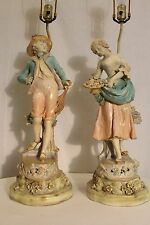 antique Dresden hand painted porcelain table lamps hand carved wood  base