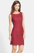 ADRIANNA PAPELL BOATNECK LACE CHIANTI/ RED SHEATH DRESS sz 4