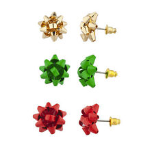 Lux Accessories Red, Green and Gold Holiday Christmas Bow Multi Earring Set 3PC