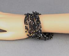 12 Black Gold Grey bracelet seed bead stretch set pack beaded stack stacking