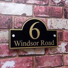 House Sign Name Adress Plaque Door Number Quality Glass Effect 'Bridge' Shape