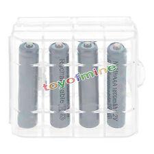 4x3A AAA 1800mAh NiMH 1.2v de cas Gris Batterie Rechargeable + 1x plastique