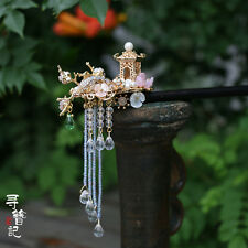 High Quality Chinese Classical Women Hairpin Green Fluorite Natural Peals