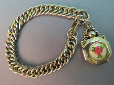 VTG Perfume Bottle Charm Bracelet Gold Plated Opens Pink Flower Leaves Center