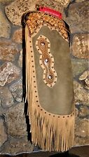 New Soft Sage Tan Leather Floral Tooled Copper Spots and Conchos Chinks Chaps