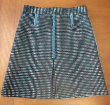 Marc Jacobs 100% Wool A Line Skirt Size 8 Black Teal and Gold NWOT Knee length