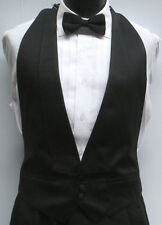 Black Satin Open Back/Backless Tuxedo Vest & Bow Tie Wedding Prom Formal 2XL