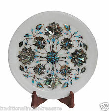 "Size 9""x9"" White Marble Round Serving Tray Plate Rare Inlay Stone Marquetry Arts"