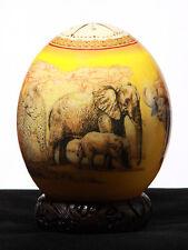 Straußenei Elefanten-, Löwen- Leopardenfamilien Decoupage handgefertigt #828