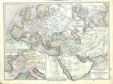 Arabic Empire Arabe Charlemagne Mongols Europe Asie Asia MAP CARTE ATLAS 1882