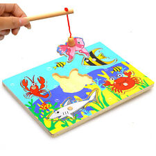 Funny Baby Wooden Magnetic Fishing Game 3D Jigsaw Puzzle Children Education Toys