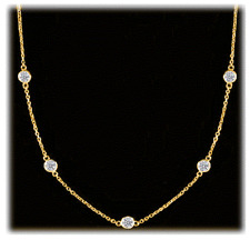 1.25 carat 5 Round Diamonds By The Yard Necklace F SI1 1/4 ct ea 14k Yellow Gold