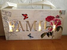 Led Light Up Shabby Chic Vintage Butterfly & Roses Family Sign Plaque