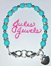 Czech Glass Beads Saturated Teal Blue Medical Alert ID Bracelet.