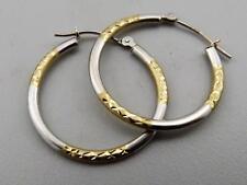 """Regal !!! 0.9"""" 14K Yellow/White Gold Diamond-Cut Hoop Earrings"""