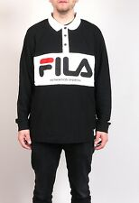 FILA Serebro Polo Shirt Retro Tennis Klassiker Black Label Polo Tee Sport NEU! L