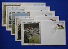"Ireland (505-509) 1981 Famous Horses Colorano ""Silk"" FDCs"