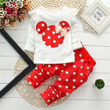 2pcs Baby Toddler Girl Cotton Outfits&Set Spring Clothes Polka Dot Tops+Pants