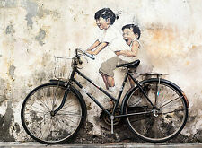 A2 SIZE CANVAS PRINT URBAN funny kids bike GRAFFITI STREET banksy ART
